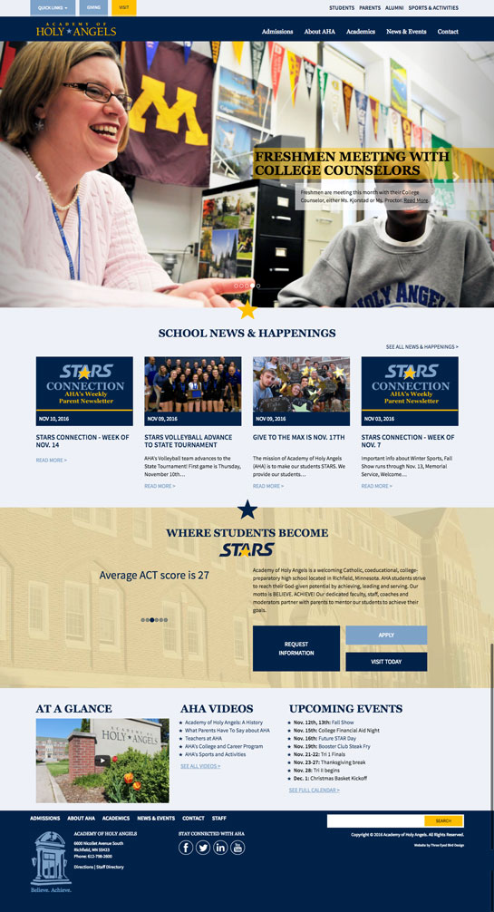 Academy of Holy Angels Website Redesign