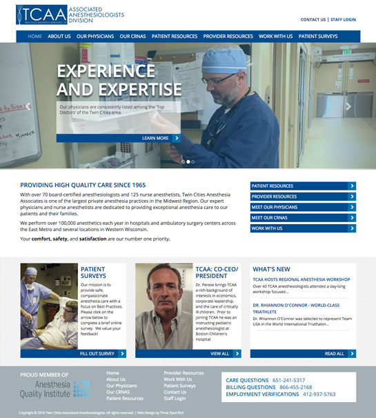 Redesign for Twin Cities Anesthesia Associates Intro Photo